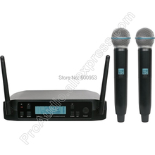 MICWL UHF 2 Channel Wireless Two Dynamic Handheld Microphone System Frequency Adjustable Perfect For Stage Karaoke Church Club