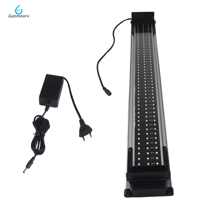 80 100cm 30W Aquarium LED Light Fish Tank Light Lamp with Extendable Brackets 96 White and 48 Blue LEDs Fit for Aquarium decro