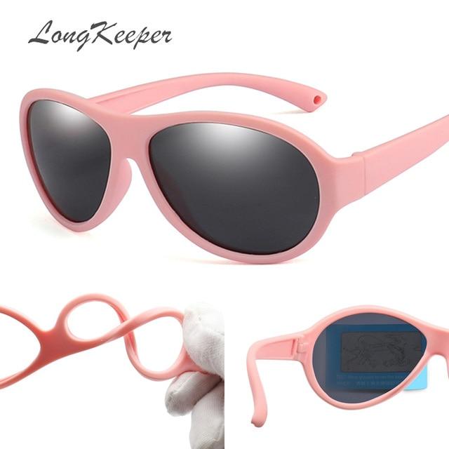 67fee53f7d LongKeeper niños Gafas de sol polarizadas niños Oval Gafas de sol de niñas  y niños de silicona UV400 niño espejo bebé Gafas TR90
