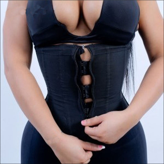 Fajas Zipper And Hooks Combo Waist Cincher Latex Waist Trainer Slim Vest Body Shaper Zip And Clip Waist Corsets Bustier