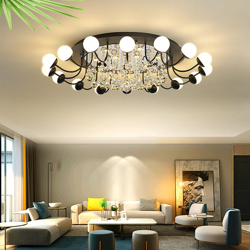 Modern simple LED ceiling lamp chandelier crystal lamp home round wrought iron acrylic lights living room dining room bedroom|Ceiling Lights| |  - title=