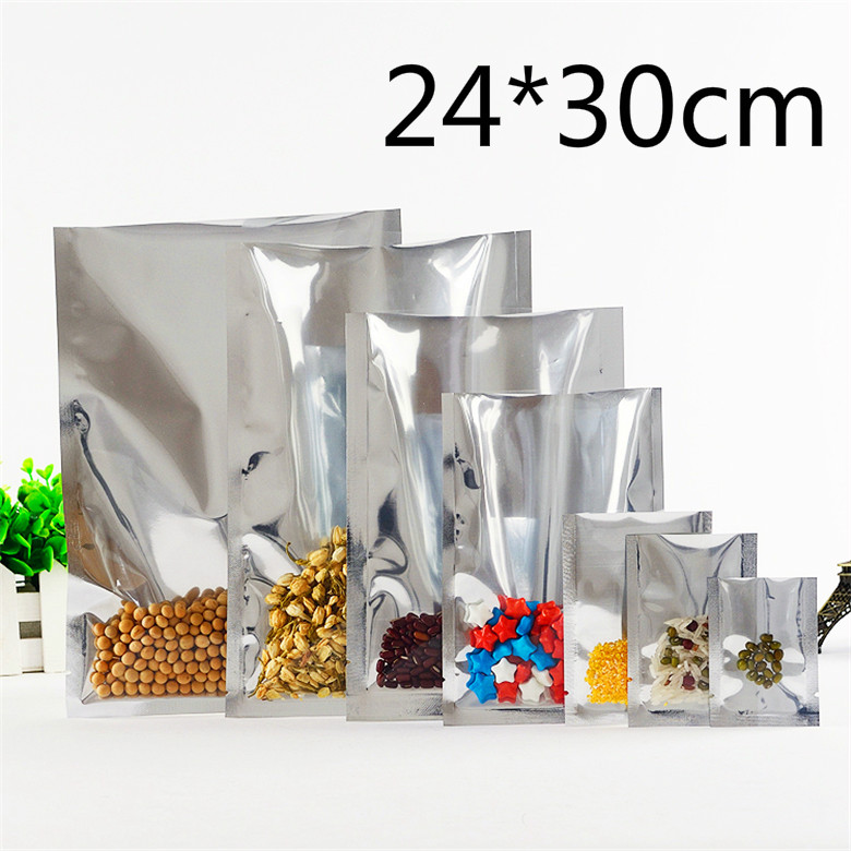 24*30cm Food Powder Storage Open Top Vacuum Pack Pouch Plating Silver Mylar Foil Heat Seal Front Clear Aluminum Foil Party Bag