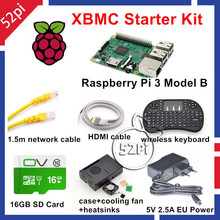 Promo offer 52Pi 2017 Raspberry Pi 3 Model B XBMC KODI OSMC Starter Kit with 16GB SD Card Wireless Keyboard 5V 2.5A EU/US/UK/AU Power Supply