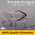 New Luxury Rimless Eyeglasses For Women Brand Design Myopic Glasses Ladies Computer Eyewear Prescription Complete Spectacles 643