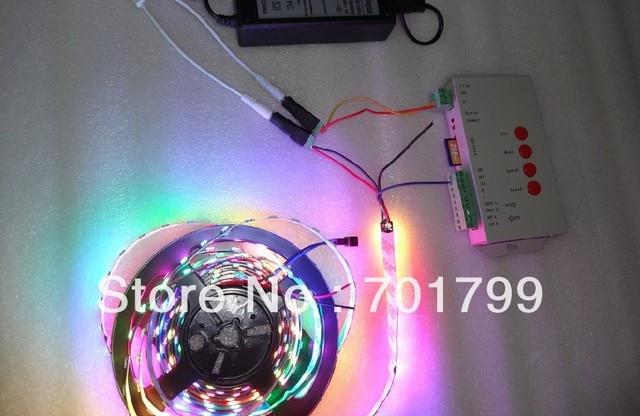4m DC5V WS2812B BLACK PCB led pixel strip,IP33,60pcs WS2812B/M +T-1000S controller+5V/60W power supply