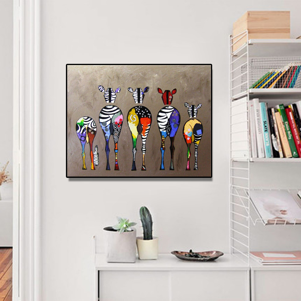 Unframed Canvas Print Cartoon zebra Wall Art Canvas Painting Print Wall Picture For Living Room Wall Art Decoration Dropshipping