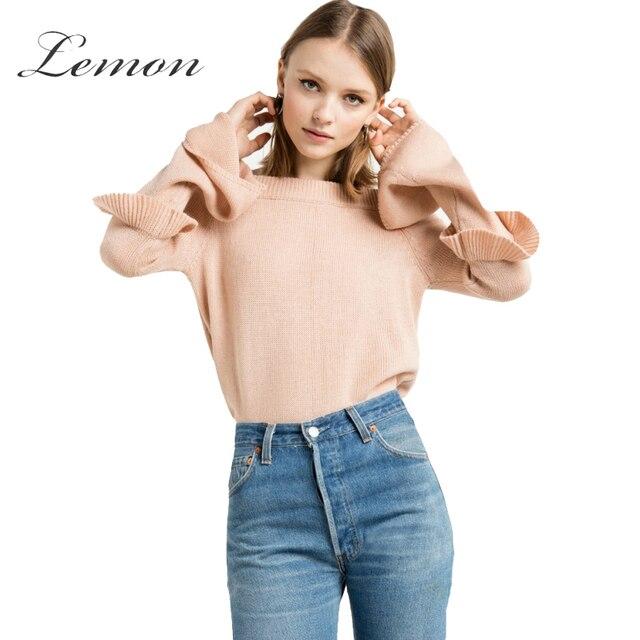 Lemon Sweet Solid Apricot Slash Neck Women Pullover Casual Off Shoulder Sweater Ruffle Flare Sleeve Slim Sweater Female