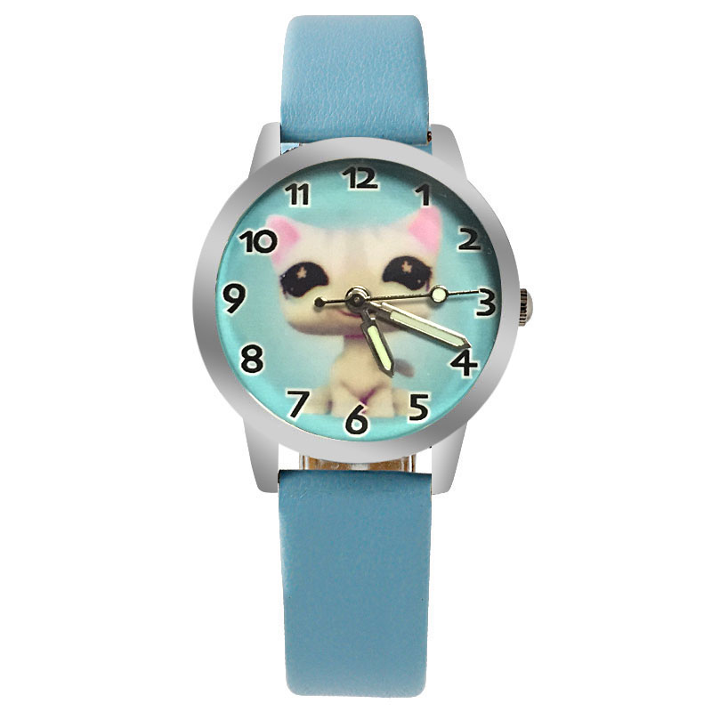 2019 New Cartoon Cute Puppy Girl Pink Watch Boy Leather Quartz Sports Luminous Clock Baby Birthday Gift Jewelry  Relojes