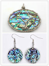 100-Unique 1 Pcs Silver Plated Wire Wrap Abalone Shell Tree of Life Pendant Round Dangle Earring Jewelry Set