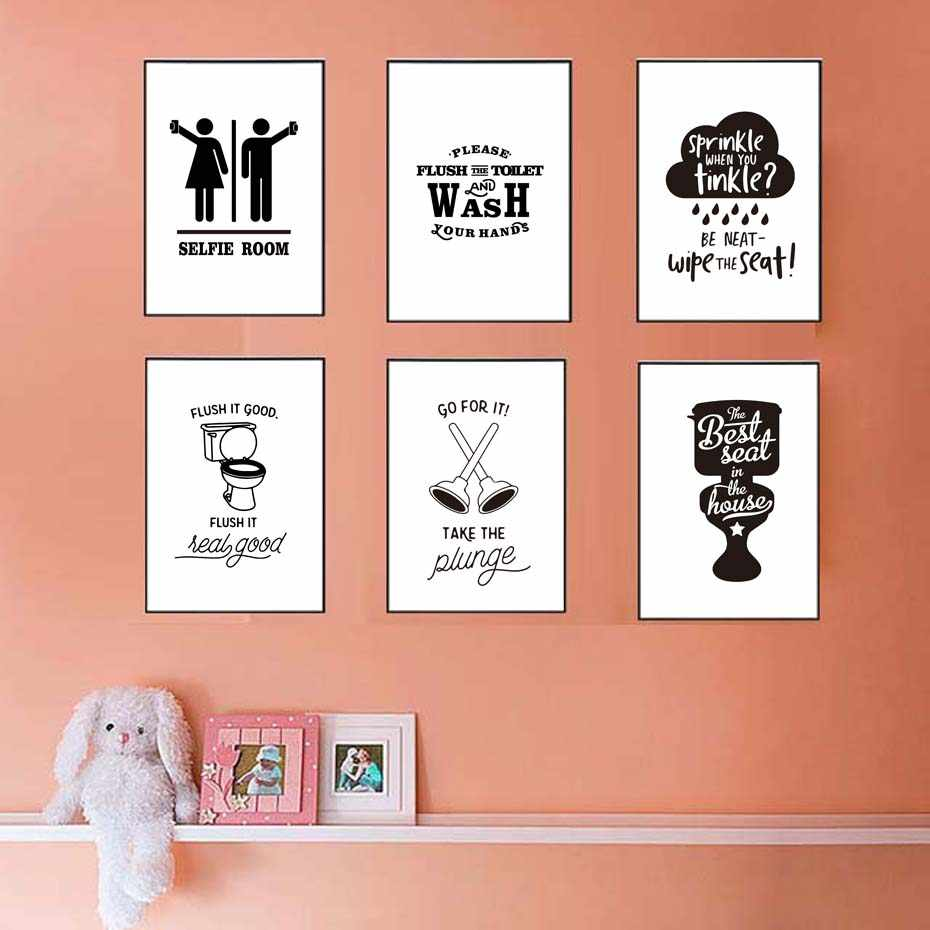 Bathroom Related Posters With Quote Canvas Printing Wash Your Hands Bathroom Painting Toilet Vintage Posters Wall Art Decoration