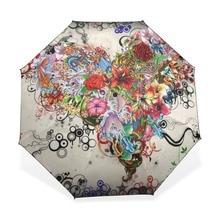 Umbrellas Parasol Compact Sun-Protection Folding Rain Women Windproof Anti-Uv Heart Floral