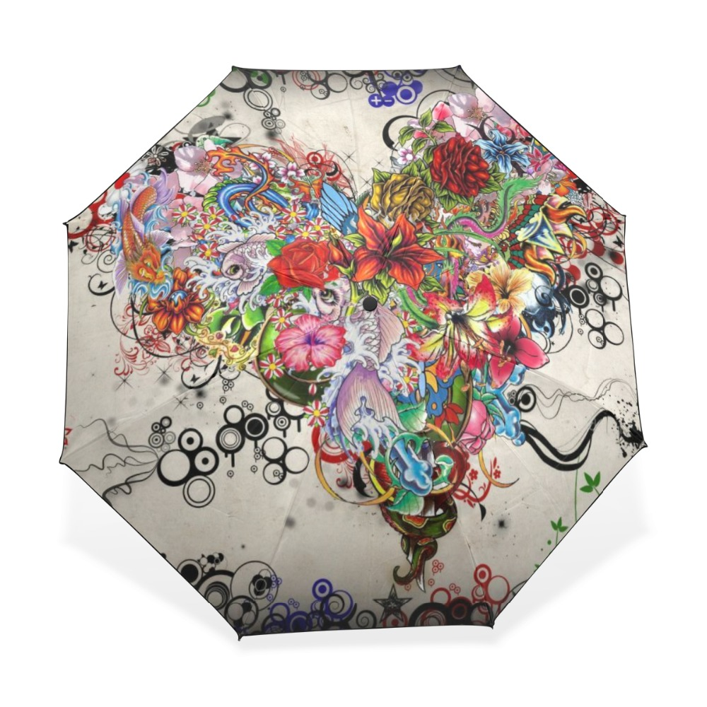 3 Folding Parasol Sun Protection Anti-UV Women Rain Umbrellas Floral Heart Art Pattern Windproof Compact Ultra Travel Umbrella