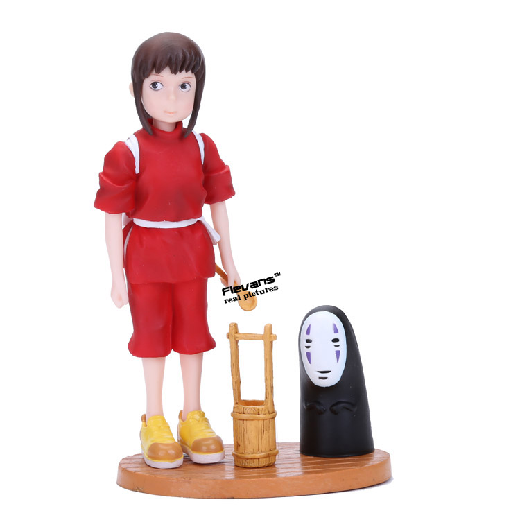 Anime Cartoon Spirited Away Chihiro and No face PVC Action Figure Collectible Model Toy 19cm arale figure anime cartoon dr slump pvc action figure collectible model toy children kids gift 6 types
