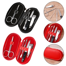 Set Pedicure Manicure Clippers Cleaner 5PCS Nail Cuticle Grooming Kit Case Tool