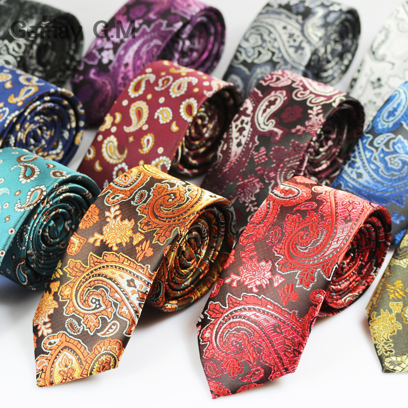 Fashion Mens Ties Narrow Neckties 6cm Classic Paisley Tie For Men Formal Business Wedding Suit Neckwear Jacquard Woven Ties