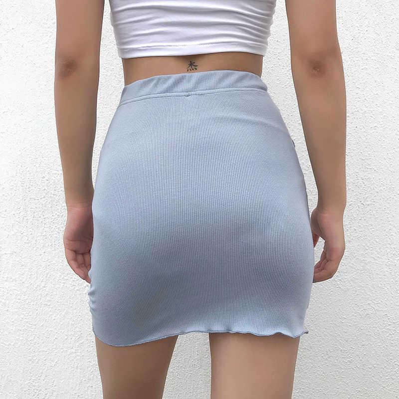 Darlingaga Thời Trang Gân Ôm Body Thun Co Giãn Cao Cấp Váy Dây Kéo Mini Nữ Bất Đối Xứng Vải Xếp Mùa Hè Váy Đáy