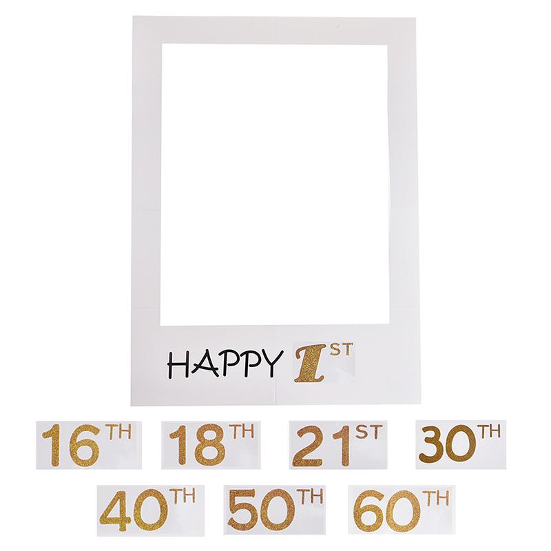 Happy 30th Photo Booth Prop Frame Banner Birthday Anniversary Accessories
