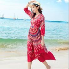 2018 spring summer New Print Bohemia Thailand Style dress Women Boho Slim  Longuette summer beach Vintage abc5eb61b2ac