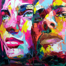 Palette knife painting portrait Face Oil Impasto figure on canvas Hand painted Francoise Nielly 16-35
