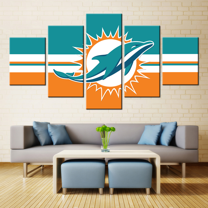 5 Panel Miami Dolphins Modular Picture Wall Art Modern Home Decoration Living Room Or Bedroom Canvas Print Painting Wall Picture
