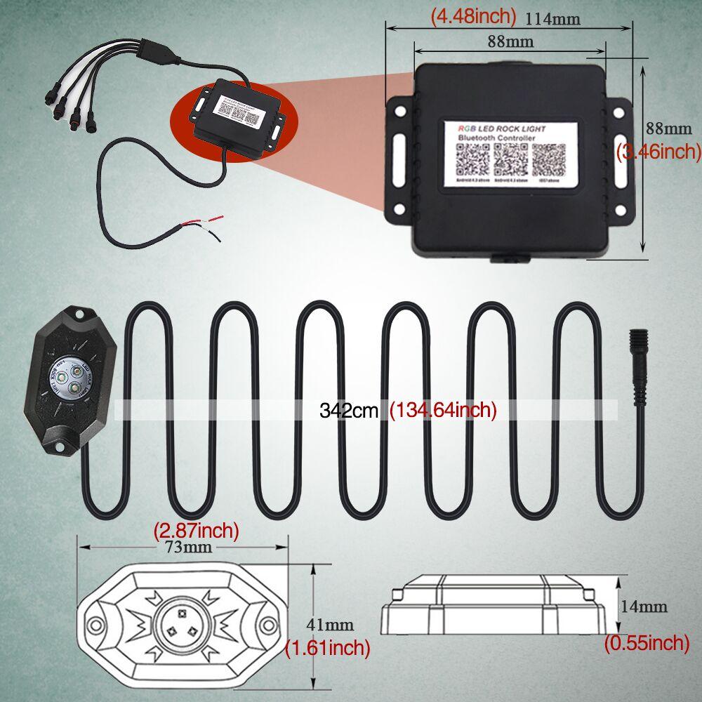 CO LIGHT 4 hüvelyes RGB futófény Bluetooth vezérlővel Távoli - Autó világítás - Fénykép 3