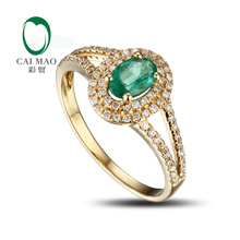 Caimao Jewelry 0.45ct Natural Emerald Pave Set Diamond 14kt Yellow Gold Engagement Ring