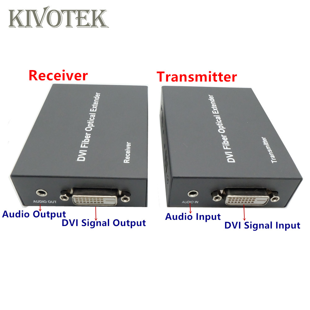 Image 2 - HD1080p DVI Extender Sender Transmit/Receive DVI+Audio Signal by Single Mode Fiber Cable 2KM LC Connector For CCTV Free Shipping-in Computer Cables & Connectors from Computer & Office