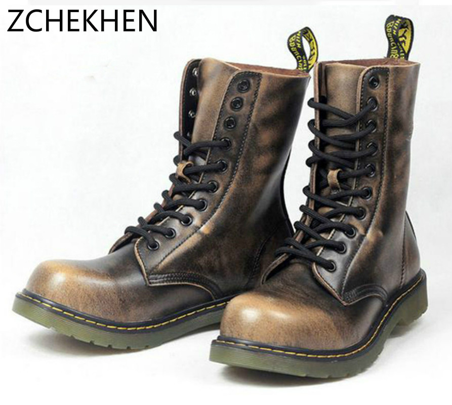 Vintage Military Combat Boots Men High Top Boots Genuine