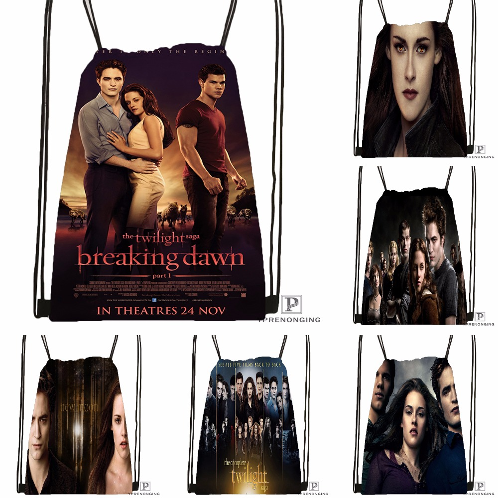 Custom Twilight Saga Breaking Dawn Drawstring Backpack Bag Cute Daypack Kids Satchel (Black Back) 31x40cm#180531-03-08