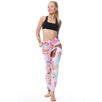 Pink White Cake Dessert Ice Cream Leggings Sexy Summer Leggings Women For Fitness Leggins Elastic Push Up Slim 2017 3D Printing 4
