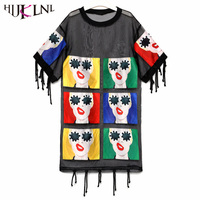 HIJKLNL Vestidos Verano 2017 Sexy Mesh Dress Women Top Fashion Brand Tassel Tshirt Dress Ladies Patchwork
