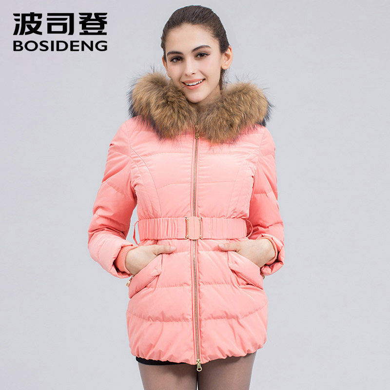 BOSIDENG Warm down Jacket winter duck down Coat For Women Warm Parka Collar thick hooded real fur collar B1401148 150cm bear big plush toys giant teddy bear large soft toy stuffed bear white bear i love you valentine day birthday gift