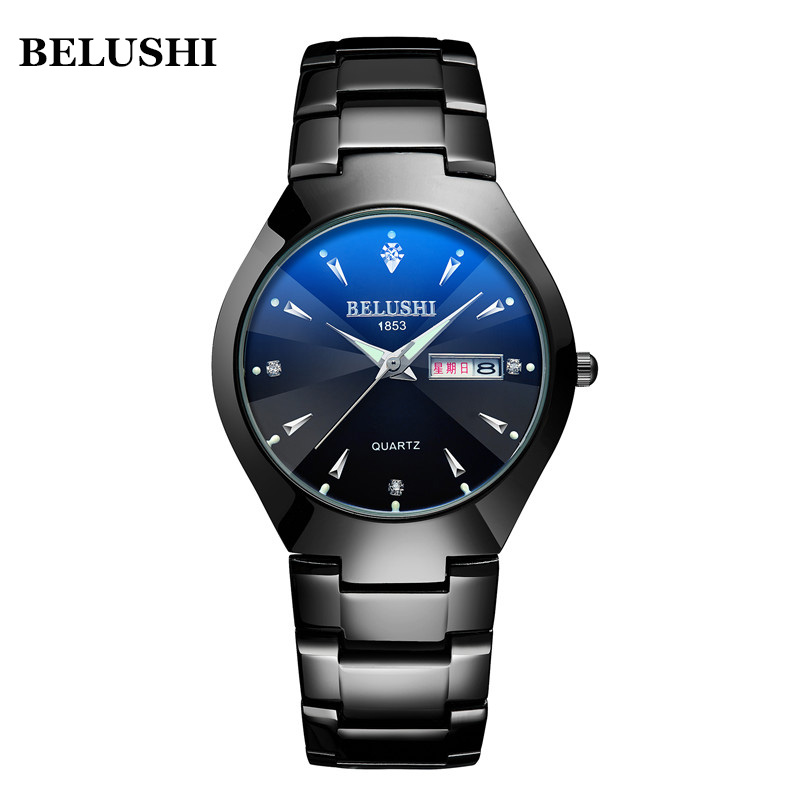 New Couple Watches Tungsten Steel Women Men Lovers Wristwatch Bracelet Top Brand Luxury BELUSHI Watch Reloj Hombre Lover Saat #c