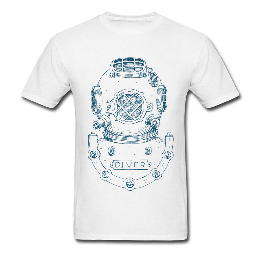 Vintage T-shirt Men White Tshirt Deep Sea Diver Helmet Illustration T Shirt Custom Print Summer Clothes Short Sleeve Tops Cotton