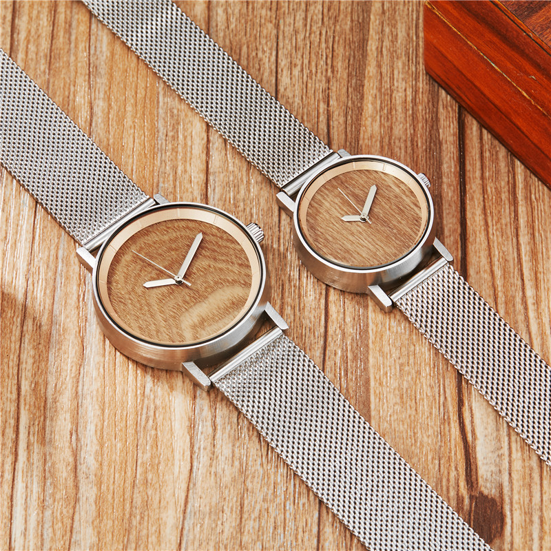 Concept Wood Watch Men Women Wood Watches Lover Couple Watch Steel Belt Quartz Watch
