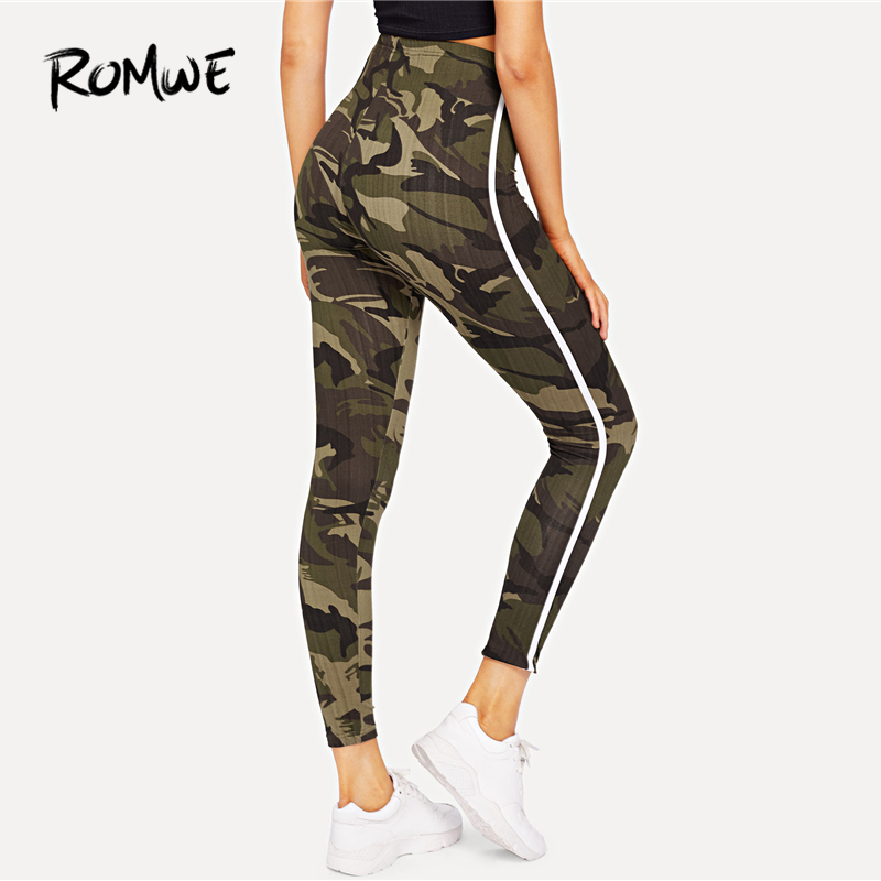 6e8b0fa2c9a ROMWE Camouflage Striped Side Skinny Leggings Bottoms Autumn Women Casual  Pants Female Spring Multicolor Sporty Crop Leggings-in Leggings from Women s  ...