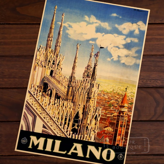 Milano, Italy (Milan) City Landscape Travel Landscape Vintage Retro Poster Decorative Wall Stickers Posters Bar Home Decor Gift