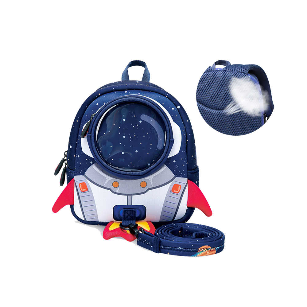 3D Rockets School Bags with Anti-lost Rope Backpack For Girls Boys Cartoon Toy Backpack Kindergarten Bags Children's Gifts