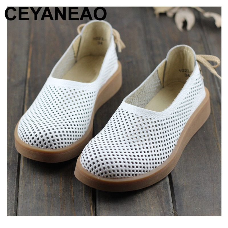 CEYANEAO Women s Shoes Hollow out Breathable Summer Shoes Genuine Leather Round toe Slip on Ladies