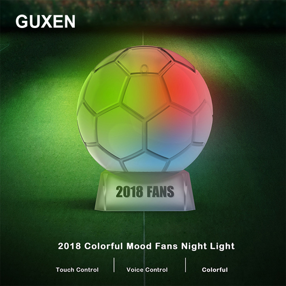 Guxen LED Lamp Touch Sensor Football trophy Night Light for Soccer Sports Fans Best Gift 7 Color Changing Lighting Lamp italia inter fc fans milan 3d soccer lamp juventus club 7 colorful football night light best gifts for kids dad friends dropship