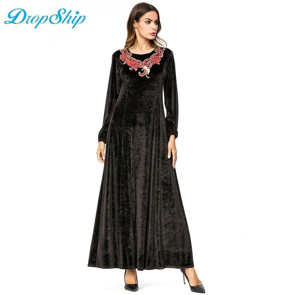 85da7de234 ... Dropship vintage Womens Velvet Chic Embroidery Maxi Dresses Black Round  Neck Long Sleeve Elegant Dress Lady ...