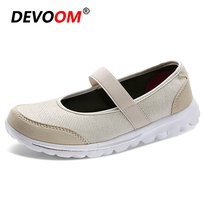 Summer Lady Shoes New Fashion Ladies Cut Out Flats Shoe Breathable <font><b>Women</b></font> Loafers Slip-on Mums Sneaker Nurse Shoes Big Size EU 41 image