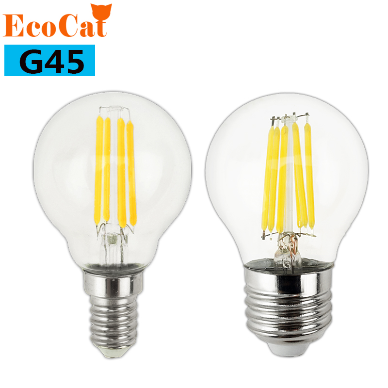 LED bulb E27 LED G45 AC 220v 240v E14 Vintage Warm White 2w 4w 6w Edison lamp Filament Decor Lamp Led Specialty Decorative Light dimmable e27 g50 led vintage filament light lamp 6w 220v 240v clear or frosted glass retro edison bulb cold white warm white