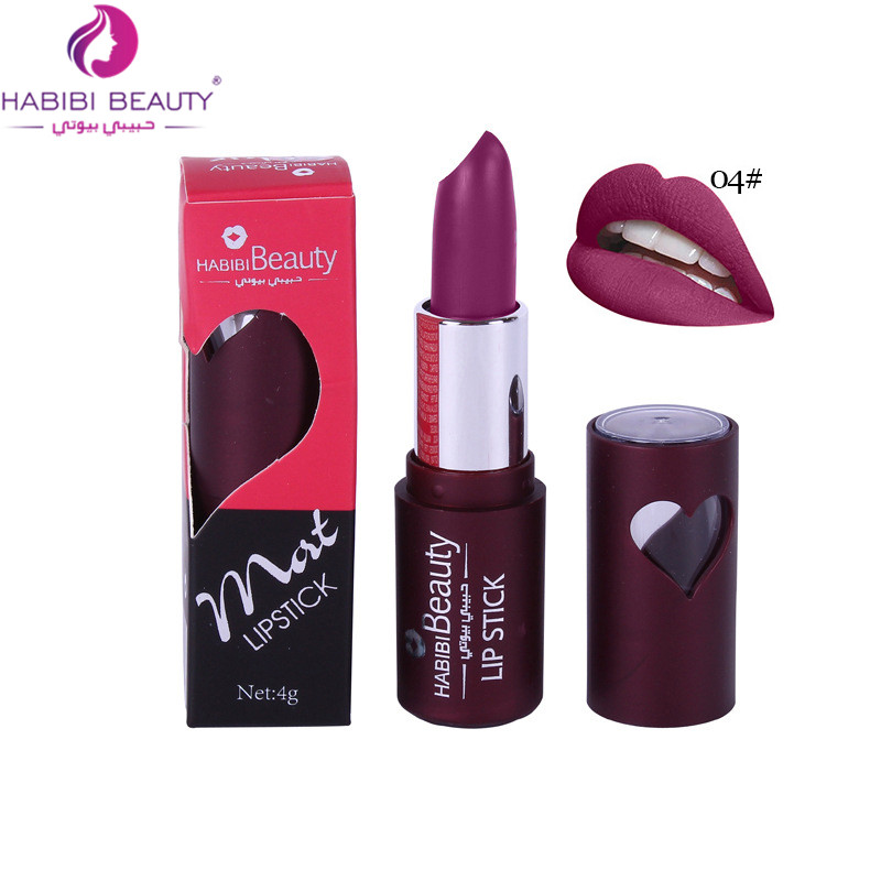 Professional Matte Lipstick Beauty Long Lasting 24 Color Waterproof Pigmented Brown Dark Red Matte Lipstick Habibi Beauty HB02