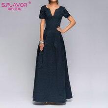7a386853a98 S. SAVEUR Dames de partie de Bonne qualité à manches courtes V-cou sexy longue  robe pour femme Automne mode casual solide robes