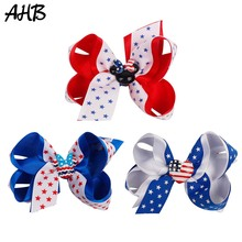 AHB 4th of July Hair Clips for Girls Double Layer Bows Cartoon Mouse Independence Party Hairgrips Kids Accessories