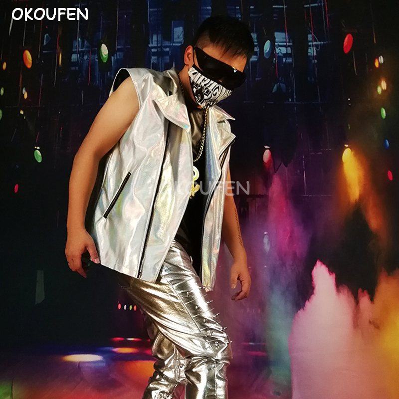 Men s Fashion Silver Vest Costumes motocycle Laser leather jacket outwear stage show party dance performance