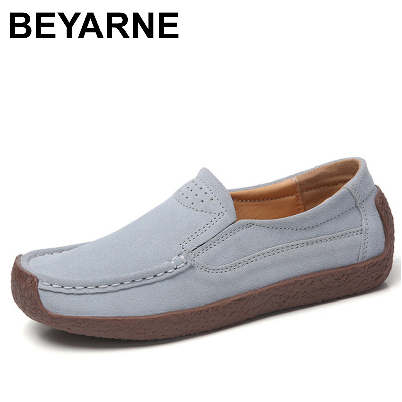 BEYARNE Spring Autumn Women Moccasins Women's Flats Genuine   leather   Shoes Woman Lady Loafers Slip On   Suede   Shoes mocasines mujer