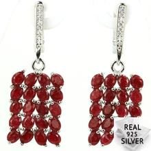 Real 6.0g 925 Solid Sterling Silver Luxury Red Ruby CZ SheType Womans Earrings 40x13mm