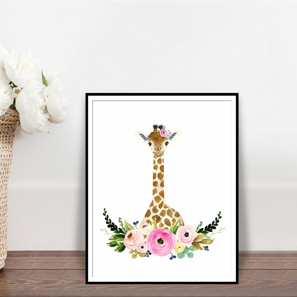 Us 2 75 45 Off Giraffe Nursery Wall Art Print Gift Woodland Safari Flower Crown Decor Poster Animal Posters And Prints In Painting